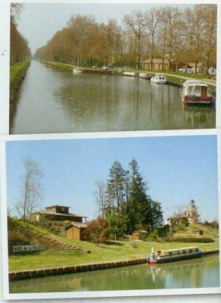 Peaceful overnight stop at Villeton (top), and the lovely, quiet Halte de la Falotte.